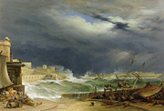Flooding Painting Prints - Storm Malta Print by John or Giovanni Schranz