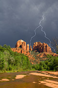 Storm Over Cathedral Rock Print by Alexey Stiop