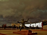 Citizens Bank Park Photos - Storm Over Lefty by Ed Sweeney
