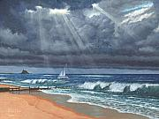 Northumberland Prints - Storm over Lindisfarne Print by Richard Harpum