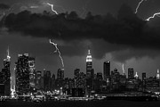 Storm Clouds; Sunset; Twilight; Water Metal Prints - Storm over NYC  Metal Print by Jerry Fornarotto