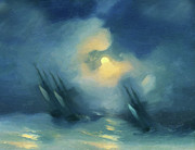 Moonlight Mixed Media Posters - Storm Over Rough Seas Abstract Realism Poster by Zeana Romanovna