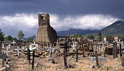 Old West Art - Storm over Taos Graveyard by Sandra Bronstein