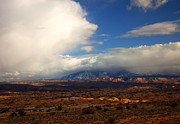 Moab Posters - Storm Over the La Sals Poster by Mike  Dawson