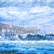 Storm Over The Sea - Tybee Pier Print by Mark E Tisdale
