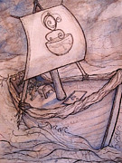 Sailing Ship Mixed Media Prints - Storm Sailing Tea Purveyor Print by Alexa Renee Smothers