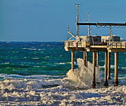 Ocean Pastels - Storm Surf at Scripps Pier by Russ Harris