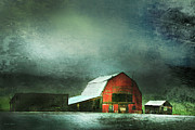 Red Barns Metal Prints - Storm Metal Print by Theresa Tahara