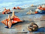 Sea Shells Painting Posters - Storm Treasures Poster by John W Walker
