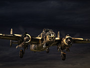 B-25 Bomber Prints - Storm Warning Print by Peter Chapman