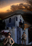 Haunted House Digital Art Metal Prints - Storm Watchers Metal Print by Bob Winberry