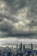 Urban Buildings Posters - Storms Above Chicago Poster by Margie Hurwich