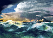 Skies Mixed Media Prints - Storms And The Power Of Nature Print by Zeana Romanovna