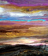 Earth Tone Painting Posters - Storms at Sunset 2/2 Poster by Holly Anderson