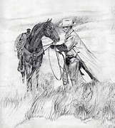 Wild Horse Drawings - Storms Coming. by Joyce Hinkson