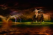Lightning Storms Digital Art Prints - Storms in the Wild Print by Liane Wright