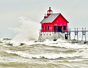 Storm Warning Prints - Stormy at Grand Haven Light Print by Nick Zelinsky