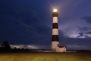 Storm Prints Posters - Stormy Bodie Lighthouse Outer Banks I Poster by Dan Carmichael