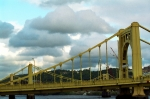 Downtown Pittsburgh Posters - Stormy Bridge Poster by Frank Romeo