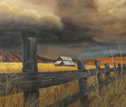 Old Barns Painting Prints - Stormy Clouds Print by Johanna Lerwick