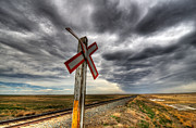 Train Crossing Prints - Stormy Crossing Print by Bob Christopher