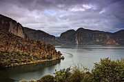 Canyon Lake Prints - Stormy Day at the Lake  Print by Saija  Lehtonen
