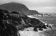 Ocean Black And White Prints Prints - Stormy Hwy 1 Coast Print by Kathy Yates