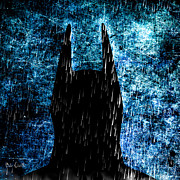 Graphic Metal Prints - Stormy Knight Dark Knight Metal Print by Bob Orsillo