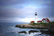 Lighthouse Pyrography Posters - Stormy Night at Portland Headlight Poster by Ronald Fleischer