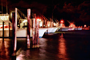 Storm Prints Posters - Stormy Night in the Marina - Outer Banks Poster by Dan Carmichael