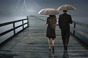 Lightning Wall Art Prints - Stormy Relationship Print by Randall Nyhof