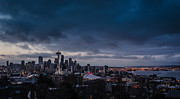 Postcard Art - Stormy Seattle Skyline Kerry Park by Puget  Exposure