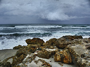 Winter Storm Art - Stormy Sky and Ocean Waves by Julie Palencia