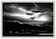 Bolts Digital Art Posters - Stormy Sky - Lightening - Small Town Poster by Barbara Griffin