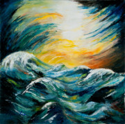 Tossing Posters - Stormy-Stormy Sea Poster by Larry Martin