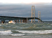 Mackinac Bridge Prints - Stormy Straits of Mackinac Print by Keith Stokes