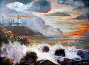 Lee Piper Art Prints - Stormy Sunset Print by Lee Piper