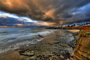 Cliffs Posters - Stormy Sunset Poster by Peter Tellone