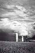 Silo Framed Prints - Stormy Weather on the Farm Framed Print by Edward Fielding