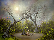 Fantasy Tree Art Painting Framed Prints - Story Telling. Fantasy Landscape Painting By Philippe Fernandez Framed Print by Philippe Fernandez