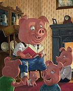 Kids Room Art Digital Art Prints - Story Telling Pig With Family Print by Martin Davey