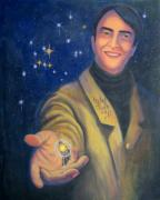 Tarot Paintings - Storyteller of Stars - Artwork for the Science Tarot by Janelle Schneider