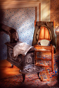 Wall Paper Framed Prints - Stove - The stove and the Chair  Framed Print by Mike Savad