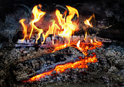 Burning Photo Posters - Stove - The Yule log  Poster by Mike Savad