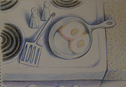 Water Drawings Prints - Stove Top   1995 Print by Larry Preston