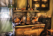Cabinet Prints - Stove - Whats for dinner Print by Mike Savad