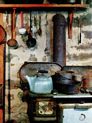 Ladles Prints - Stove With Tea Kettle Print by Susan Savad