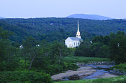 New England Village Framed Prints - Stowe Community Church at dusk Framed Print by Don Landwehrle