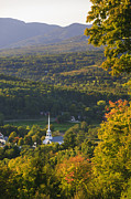 New England Village Framed Prints - Stowe Community Church in late summer. Framed Print by Don Landwehrle