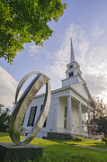 New England Village Framed Prints - Stowe Community Church in the summer. Framed Print by Don Landwehrle